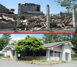 Above: Remains of the once-proud Ballard Denny's. | Below: The unblemished whole of the never-proud Kenmore Denny's