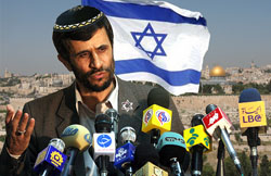 Iranian President Mahmoud Ahmadinejad fields questions about his newly-discovered Jewish ancestry during a press conference outside Jerusalem.