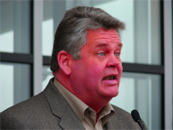 Mayor Nickels' face turned a deep shade of red as he passionately railed against environmental waste on Friday.