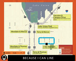 The proposed route for Paul Allen's new Because I Can streetcar line.