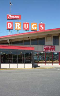 The bustling Ostrom's Drugs enjoys swift business in its current high-traffic location.