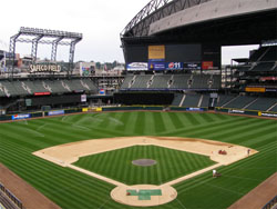 Safeco Field sits quiet during one of the few moments this season in which the Mariners were not losing yet another game.