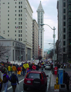 Thousands take to the streets in downtown Seattle to protest Congress' unwillingness to flush taxpayer money down the toilet in a Wall Street bailout.