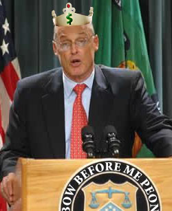 Paulson addresses Congress sporting his new crown.