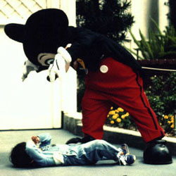 A naughty child receives a well-deserved scare at the hands of a skilled Disney fright operative.